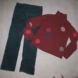 9-10 лет, свитер в кружочки и вельветовые штаны морская волна