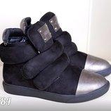 Женские стильные замшевые ботинки липучки