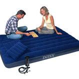 Матрас Интекс Intex 68765 набор 152 203 22 см с насосом и 2 подушки матрац