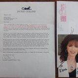 Автограф писательницы Джеки Коллинз март 2015 .