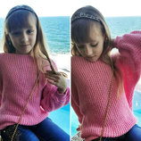 Детский свободный вязанный свитер Кольчужка в расцветках.
