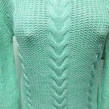 мятный свитер зара с косами шик мята