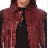 жилет куртка кожаный Vera pelle с бахромой нат кожа Италия