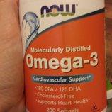 Выгодная Омега-3,сша Now Foods, Omega-3, 200 капсул