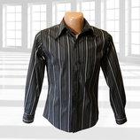 Черная рубашка в полоску р.S Blue A&T Сша