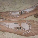 40р- 26.5 см кожа Comma темно-коричневые каблук 3.5 ширина стельки 8.5