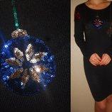Новогоднее платье-туника трикотажное с пайетками 12 40 р.