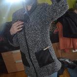пальто-весна с кожзам вставками