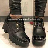 Женские кожаные туфли,броги на тракторной подошве в стиле гранж AURIS
