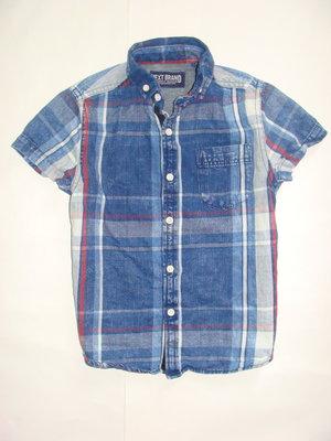 Стильная джинсовая рубашка NEXT, мальчику 4-6 лет