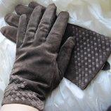 Перчатки замшевые коричневые L