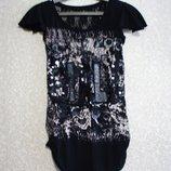 Тениска Футболка р. 40-44 короткое платье, секси, принт пайетки нарядная