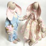 Пара заек тильда Небесно-Розовые оригинальный подарок на свадьбу 8 марта день пождение