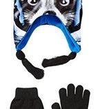 Набор шапка с ушками и перчатки Енот астронавт США 2-3 года