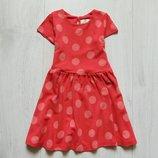 Яркое плотное платье для девочки. Цвет - коралловый. Mini B by BHS. Размер 2-3 года
