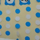 Бумажная гирлянда, растяжка кружочки, бело-синяя, картон