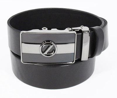 Ремень кожаный мужской автомат черный Zegna 8006-312