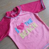 Футболка для купания девочке 98-104 см, розовая купальник лето море