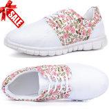 SALE с Ла Мода-70% женские белые сетчатые кроссовки с цветами на шнуровке