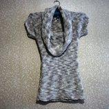 Платье свитр р.38-44 короткое с хомутом, шерсть меланж, короткий рукав.