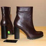 Ботинки - ботильоны на каблуке из натуральной Кожи на устойчевом каблуке Низкие цены