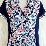 Рубашка, блузка бренд Zemal, с красивой цветочной вставкой впереди. Раз.44