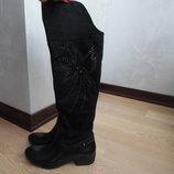 Сапоги женские 38 р 24,3 см стелька Feida резиновые дождь слякоть черные камушки
