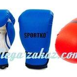 Перчатки боксерские детские на липучке Sportko PD-2, 2 цвета 4,6,7 унций кожвинил