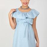 Шикарное платье для беременных и кормящих Chic, светло-голубой джинс