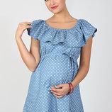 Шикарное платье для беременных и кормящих Chic, сердечки на светлом джинсе