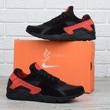 Кроссовки кожаные Nike Huarache мужские черные с красным 41-45 размеры фирменная упаковка Хуарачи