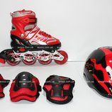 Роликовые коньки Combo In Line Skate Светящийся колесо, раз. 27-31, 34-38 Red красный