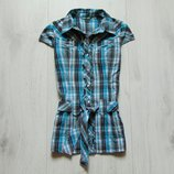 Стильная рубашка с поясом для девочки. На кнопках. Lindex. Размер 8 лет. Состояние идеальное