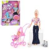 DEFA 20958 Кукла с дочкой, коляской, собачкой, аксессуарами