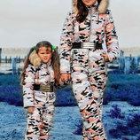 Тёплый детский комбинезон унисекс на синтепоне Moncler Камуфляж в расцветках.
