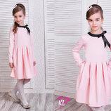 Стильное детское платье 211 Мемори Бантик розовый.