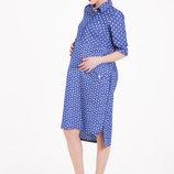 Джинсовое стильное платье для беременных и кормящих мам