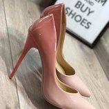 Женские туфли лодочки омбре, пудра и бежевые