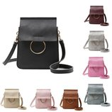 Женская сумка, сумочка с кольцом, через плечо, летняя, мягкий кожзам, черная, белая, коричневая, бор