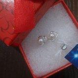 Серьги серебро с жемчугом и камнем Королева гвоздики пусеты Украина 925 проба