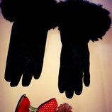 Кожаные перчатки р.S немножно надо подшить мех