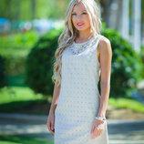 В наличии Элегантное песочное летнее платье S-XL
