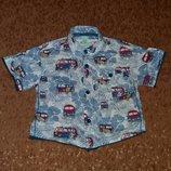Летняя рубашка гавайка с машинками Monsoon, 6-12 мес