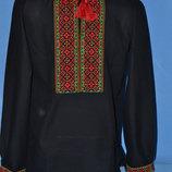 Красивая мужская вышиванка черная лен чоловіча вишиванка льон