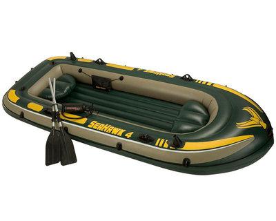 Надувная лодка Пвх 4-х местная SeaHawk 400 Set 351х145x48см 68351 Intex Интекс