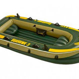 Лодка надувная трехместная пвх Seahawk 300 Set 295х137x43см 68349 Intex Интекс