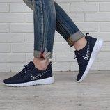 Кроссовки женские Nike Roshe Run Metric синие текстильные