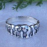 Кольцо серебряное Слоники