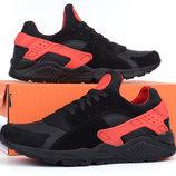 Кроссовки мужские кожаные Nike Huarache black&red