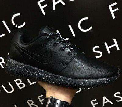 Кроссовки натуральная кожа Найк Роше фабричный Вьетнам Nike Roshe черные кожаные